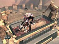 Kratos arrancando la cabeza del hijo del arquitecto