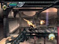 Kratos disparando rayos a los arqueros