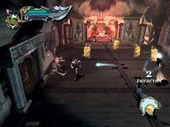 Kratos enfrentandose a multiples enemigos