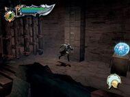 Kratos dirigiendose hacia el escudo de Hades