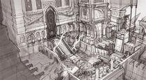Boceto de la entrada al Templo de Tánatos