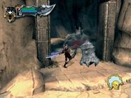 Kratos peleando contra minotauros