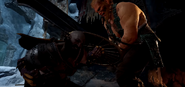 Magni pins Kratos down with his thunder sword
