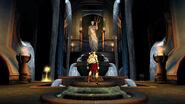 Kratos subiendo por unas plataformas