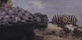 Gamera - 4 - vs Viras - 6 - Gamera obeys the aliens because if he does not then two boys will be killed