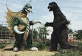 ZF - Godzilla and Gigan Suits Outside from Filming