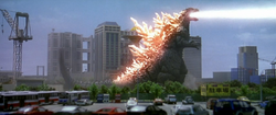 Godzilla vs. Megaguirus - Godzilla fires atomic breath.png
