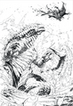 Concept Art - Awakening - Godzilla Behind Shinomura