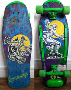 Goosebumps Mummy 1997 blue purple skateboard f+b