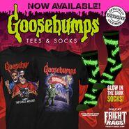 Fright Rags Goosebumps ad Horrorland Say Cheese shirts glow socks