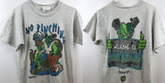 16 Welcome Horrorland sign No Pinching T-shirt f+b