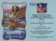 Goosebumps 44 Say Cheese and Die Again trading card front and back
