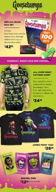 Goosebumps Creepy Co ad shirts pins book box set.jpg