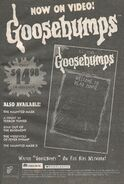 Goosebumps TV series Now on Video bookad from OS 61 1997