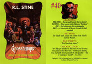 Goosebumps 40 Night Living Dummy III trading card front and back