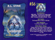 Goosebumps 56 Curse Camp Cold Lake trading card front and back