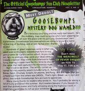 Drool Mystery Dog named fan club newsletter Summer 1996 V2No4
