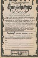 Goosebumps Backpack bookad from orig series 33 1995