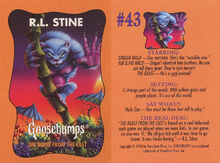 Goosebumps 43 Beast from the East trading card front and back