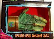 1996 Haunted Hand Doorknob cover box front closeup