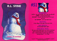 Goosebumps 51 Beware the Snowman trading card front and back