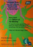 Monster Magic 6 Return Mummy trading card back