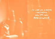 Beneath sink Halloween greeting card inside