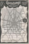 Goosebumps Presents booklist 1-17 from TV 18