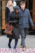 8a6ec Tika-Sumpter-and-Chace-Crawford-o-set-of-Gossip-Girl-brown-suede-chain-belt-bag-2