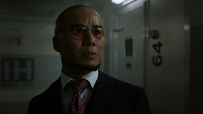 Hugo Strange looking shocked at Fish Mooney being out of her cell