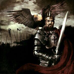 Rhobar III w ciężkiej zbroi płytowej i z peleryną stoi prezentując oręż z siedzącym mu na ramieniu orłem. W tle widać kipie i chorągwie żołnierzy