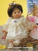 1986 MICHELLE - Gotz Modell Play Doll - 18 Inch Soft-Bodied Baby Doll - WEICHBABY 12065 - Brown Hair - Brown Eyes - Cream Eyelet Dress