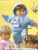1986 KEVIN - Gotz Modell Play Doll - 22 Inch Soft-Bodied Baby Doll - WEICHBABY 51070 - Brown Hair - Brown Eyes - White Shirt with Graphic Blue Jacket and Pants