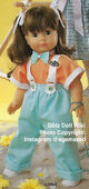 1986 HILARY - Götz Modell Play Doll - 20 Inch Soft-Bodied Doll with Jointed Arms and Legs - WEICHGELENKPUPPE 63061 - Brown Hair, Brown Eyes - Orange Shirt, Teal Overalls