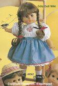 1986 VIOLETTE - Götz Elegance Play Doll - 20 Inch Soft Doll with Kanekalon Wig - WEICHPUPPE mit KANEKALON PERUCKE 48262 - Brown Hair, Brown Eyes - White Blouse, Blue Skirt