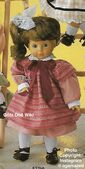 1986 LAURA - Götz Elegance Play Doll - 18 Inch Soft Doll with Kanekalon Wig - WEICHPUPPE mit KANEKALON PERUCKE 57265 - Brown Hair, Brown Eyes - Pink and Maroon Dress