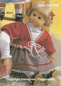 1986 VRONI - Götz Elegance Play Doll - 20 Inch Soft Doll with Kanekalon Wig - WEICHPUPPE mit KANEKALON PERUCKE 48266 - Blonde Hair, Brown Eyes - White Shirt, Grey Skirt, Red Sweater
