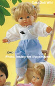 1986 MANDY - Gotz Modell Play Doll - 18 Inch Soft-Bodied Baby Doll - WEICHBABY 12063 - Blonde Hair - Blue Eyes - White Shirt with Blue Overalls