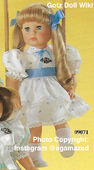 1986 FLORENCE - Gotz Modell Play Doll - 20 Inch Soft-Bodied Doll - WEICHPUPPE 09071 - Blonde Hair, Blue Eyes - White Dress with Blue Flowers and Sash