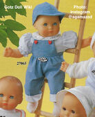 1986 BENNY - Gotz Modell Play Doll - 16 Inch Soft-Bodied Baby Doll - WEICHBABY 27065 - Bald Baby Doll - Blue Eyes - White and Blue Checkered Shirt with Blue Overalls