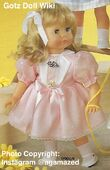 1986 FIONA - Götz Modell Play Doll - 20 Inch Soft-Bodied Doll - WEICHPUPPE 09068 - Blonde Hair, Blue Eyes - Blue and White Dress