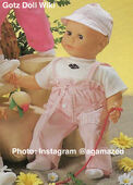 1986 WILLIAM - Gotz Modell Play Doll - 22 Inch Soft-Bodied Baby Doll - WEICHBABY 60061 - Bald Baby Doll - Brown Eyes - White Shirt with Pink Overalls