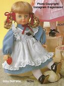 1986 ALICE - Götz Modell Play Doll - 18 Inch Soft Doll with Kanekalon Wig - WEICHPUPPE mit KANEKALON PERUCKE 58266 - Blonde Hair, Blue Eyes - Blue Dress, White Pinafore