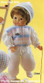 1986 MICHAEL - Gotz Modell Play Doll - 18 Inch Soft-Bodied Baby Doll - WEICHBABY 12064 - Brown Hair - Brown Eyes - White Shirt, Pink and Blue Fleece Vest and White Fleece Pants