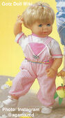 1986 KATHY - Gotz Modell Play Doll - 22 Inch Soft-Bodied Baby Doll - WEICHBABY 51065 - Blonde Hair - Blue Eyes - White and Pink Shirt with Pink and White Striped Overalls