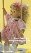1986 BARBARA - Götz Elegance Toddler - 21 Inch Soft Doll - WEICHPUPPE 17064 - Blonde Hair, Brown Eyes - Pink Flowered Dress