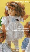 1986 SHIRLEY - Götz Modell Toddler - 21 Inch Soft Doll - WEICHPUPPE 55761 - Red Hair, Brown Eyes - White Dress with Blue Embroidery