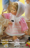 1986 MOLLY - Gotz Modell Play Doll - 18 Inch Soft-Bodied Baby Doll - WEICHBABY 12066 - Blonde Hair - Blue Eyes - White and Pink Knit Dress