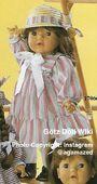 1986 BONNIE - Götz Elegance Toddler - 21 Inch Soft Doll - WEICHPUPPE 17066 - Brown Hair, Brown Eyes - Pink Striped Dress, White Bow
