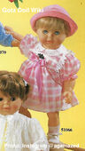 1986 KAREN - Gotz Modell Play Doll - 22 Inch Soft-Bodied Baby Doll - WEICHBABY 51066 - Blonde Hair - Blue Eyes - Pink and White Plaid Dress with Pink Bow